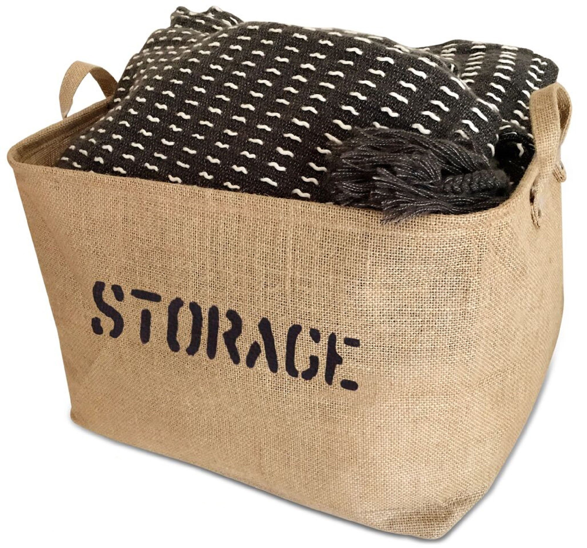 OrganizerLogic Burlap Storage Organizer Basket - Heavy Duty Storage Basket - Perfect Storage Jute Basket For Laundry, Shoes and Kids Toys - 17'' x 13'' x 10''