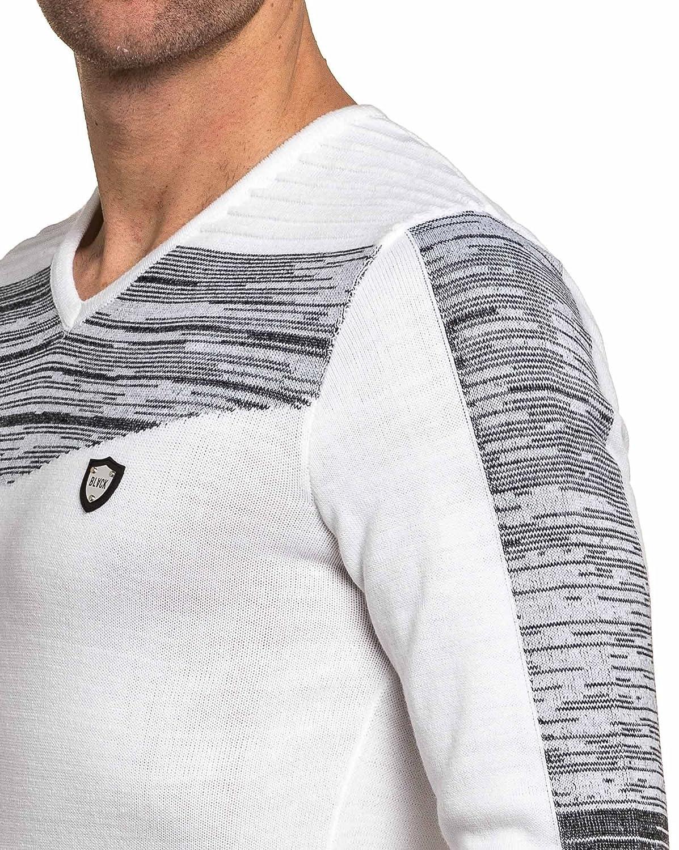 534c57b30b123 BLZ Jeans - Pull Fin Homme Blanc col V - Couleur  Blanc - Taille  L XL   Amazon.fr  Vêtements et accessoires