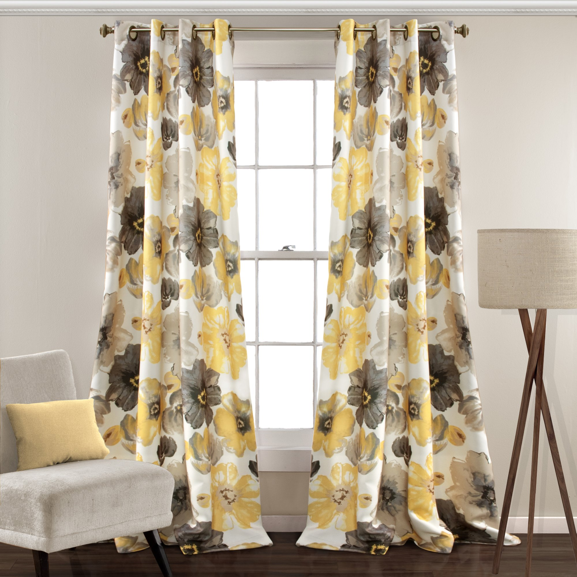 Lush Decor Leah Floral Room Darkening Window Panel Curtain Set for Living, Dining, Bedroom (Pair), 120'' x 52'' Yellow and Gray, L by Lush Decor