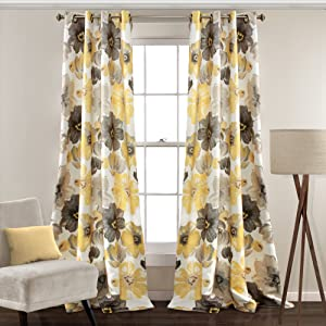 """Lush Decor Leah Floral Curtains Room Darkening Window Panel Set for Living Room, Dining Room, Bedroom (Pair), 95"""" x 52"""", Yellow and Gray"""