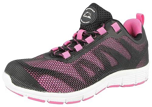 Groundwork Ladies Bases Puntera de ACERO Seguridad Trabajo Entrenador Zapatos de Encaje Ultra Ligera, Color Rosa, Talla 43