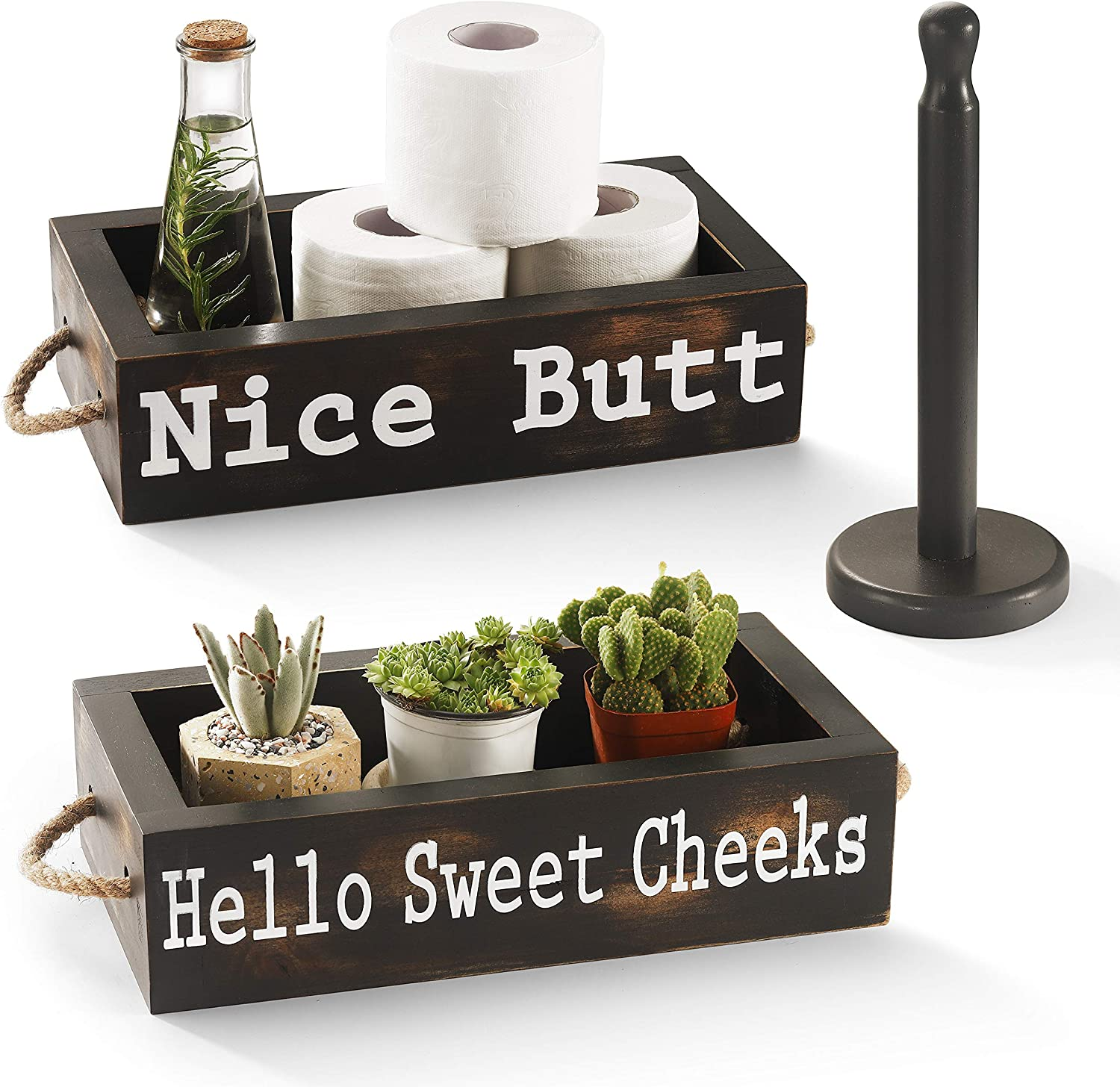 CABASAA Nice Butt Bathroom Decor Box, 2 Sided Funny Toilet Paper Holder, Farmhouse Rustic Wood Organizer, Funny Home Decor, Wooden Crate with Rope Handles (Dark Grey)