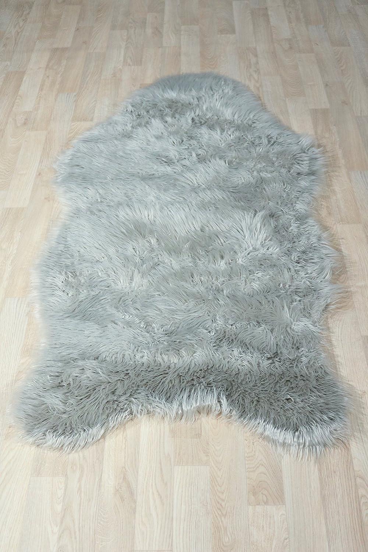 Fell Teppich Schaffell Lammfell Imitat Kunstfell Dekofell MIA bei 30 Grad waschbar aus 100% Polyester (080 x 150 cm Fell, silber grau 042)