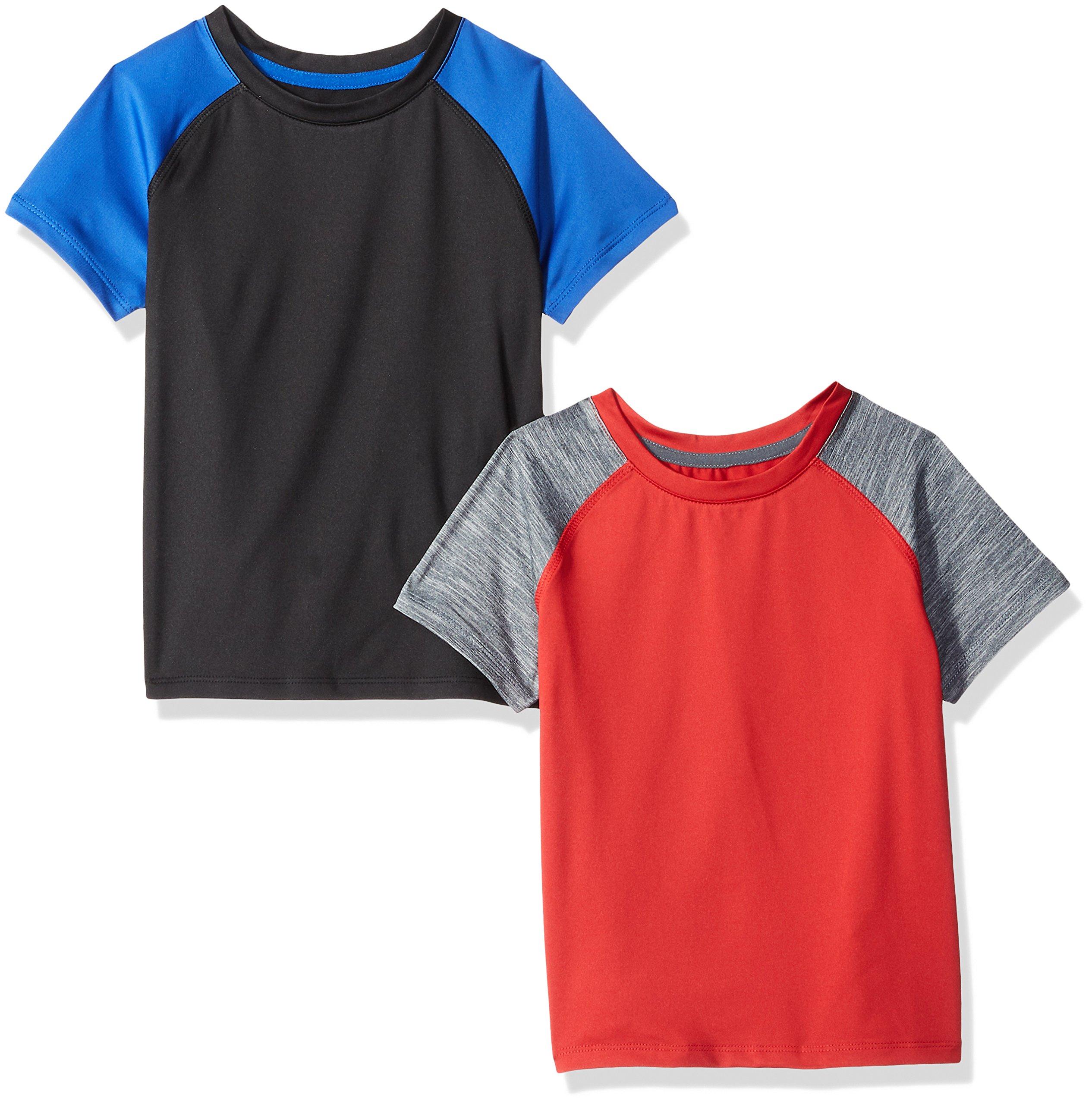 Amazon Essentials Toddler Boys' 2-Pack Short-Sleeve Raglan Active Tee, Black/Royal Blue/Grey/Red, 3T