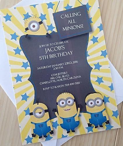 Amazon minion birthday invitation handmade minion birthday invitation stopboris Gallery