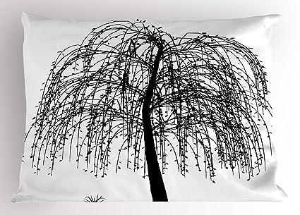 Negro y Blanco almohada Sham por Ambesonne, monocromo Barren Árbol Diseño Leafless ramas naturaleza imagen