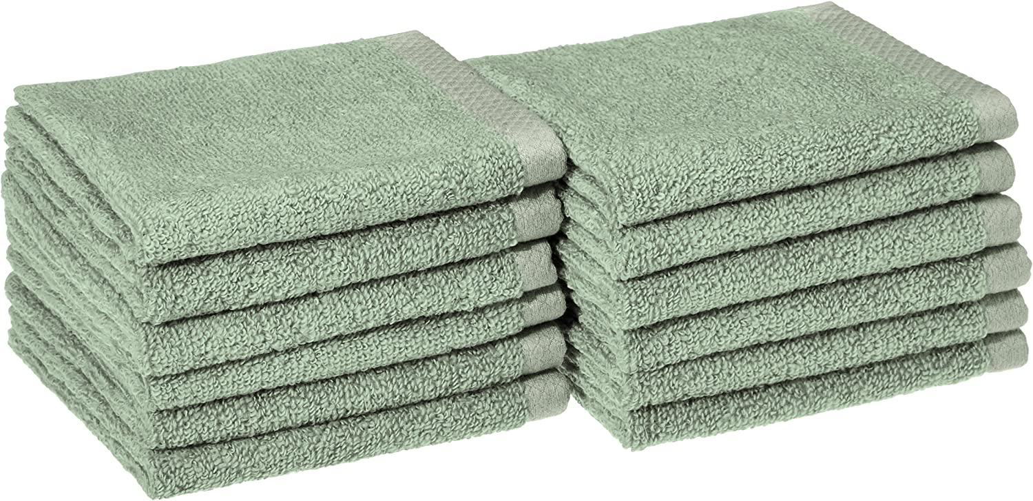 AmazonBasics Quick-Dry, Luxurious, Soft, 100% Cotton Towels, Seafoam Green - Set of 12 Washcloths