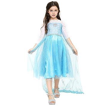 Katara 1757-104/110 - Prinzessin Elsa Mädchen Kinder-Kostüm - Kleid ...