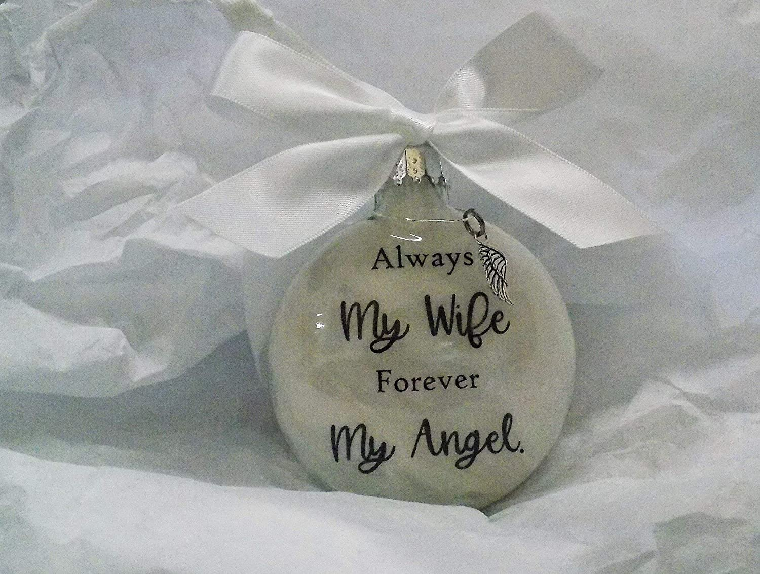 Silver Angel Gray Ribbon Charm Gift Tag Christmas Ornament