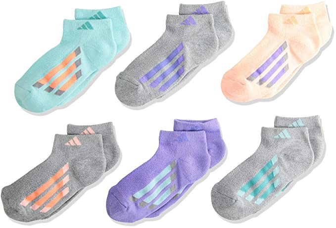 b15ce698 Amazon.com: adidas Kids' - Girls Cushioned Low Cut Socks (6-Pair ...