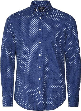 Hackett Hombres Camisa de Lunares Slim Fit Marina De Guerra ...
