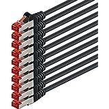 1aTTack - Cable de red SSTP PIMF con 2 conectores RJ45 de doble apantallamiento CAT 6 0 Negro - 10 piezas 1 m