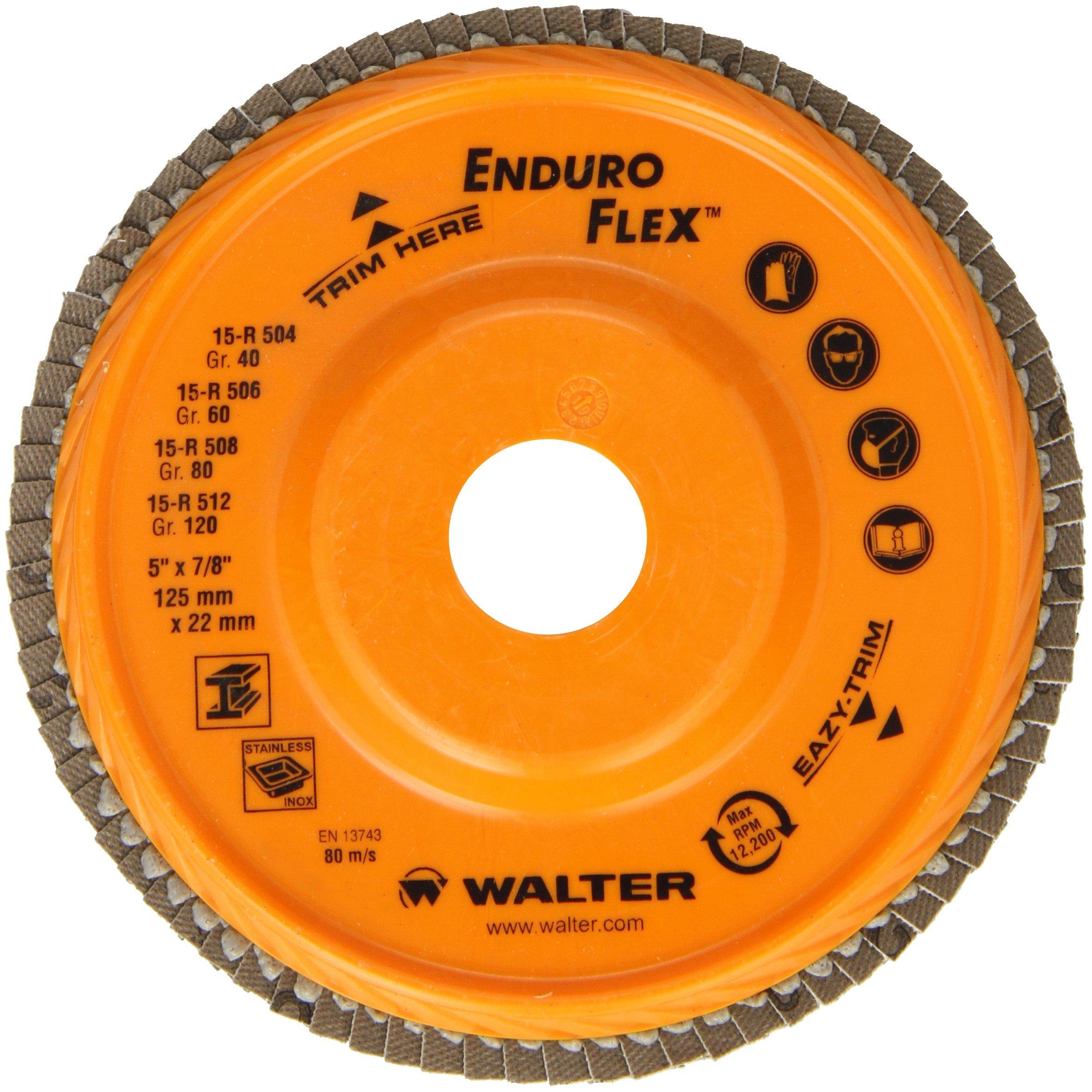 Walter Enduro-Flex Abrasive Flap Disc, Type 29, 5/8''-11 Thread Size, Trimmable wood fiber Backing, Zirconia Alumina (Pack of 10)