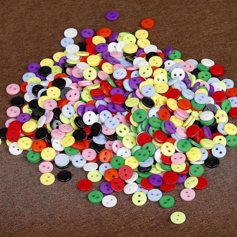 Botones Costura de 10 Colores Botones Redondo de Resina con Caja de Pl/ástico para manualidades de DIY Coser Artesan/ía 9mm 750 unidades