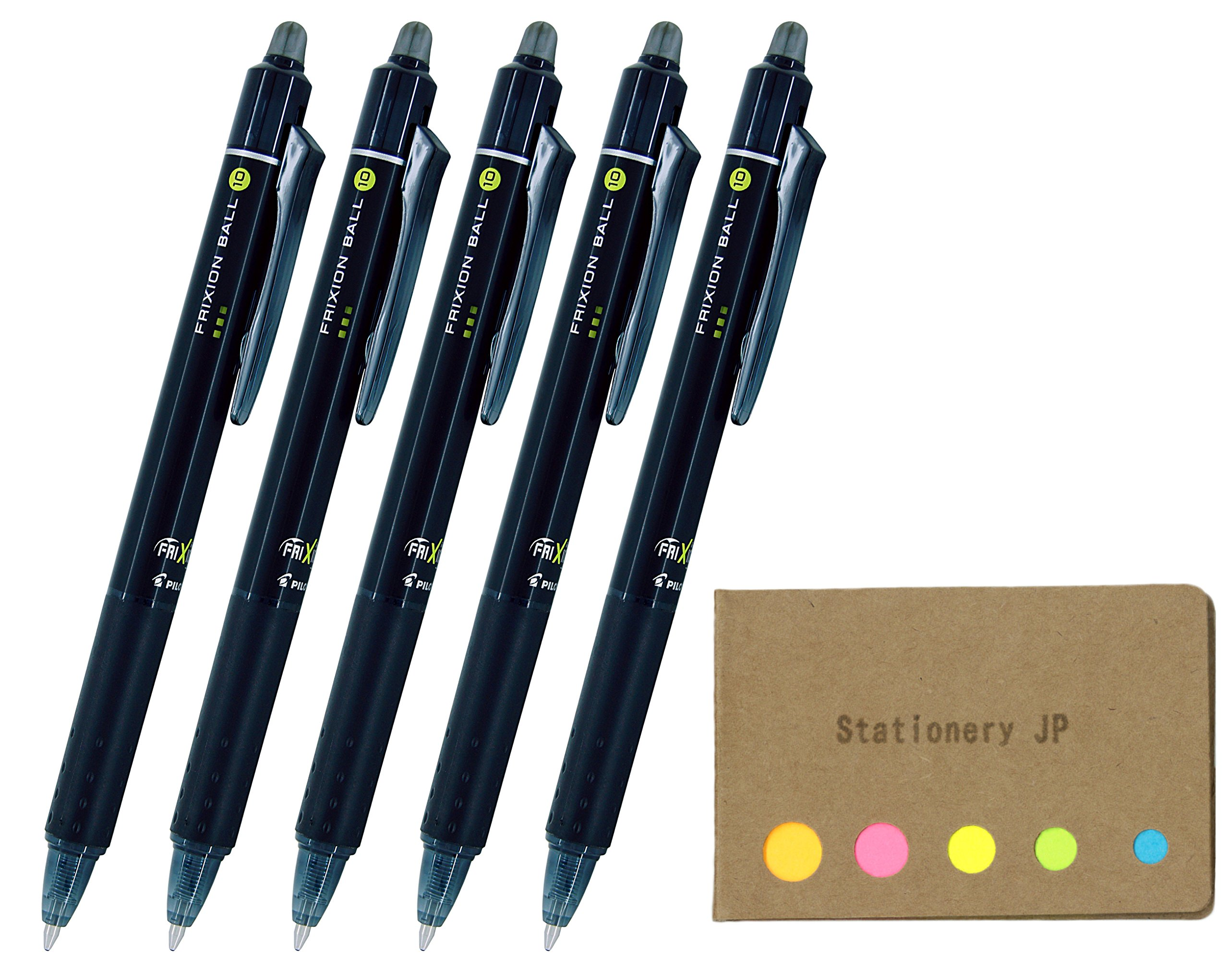 Pilot FriXion Ball Knock Retractable Erasable Gel Ink Pens, Bold Point 1.0mm, Black Ink, 5-Pack, Sticky Notes Value Set