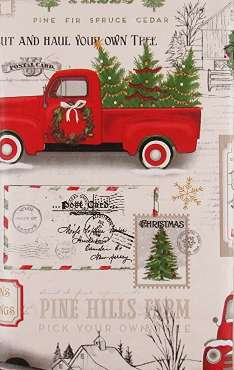 old red truck with christmas tree