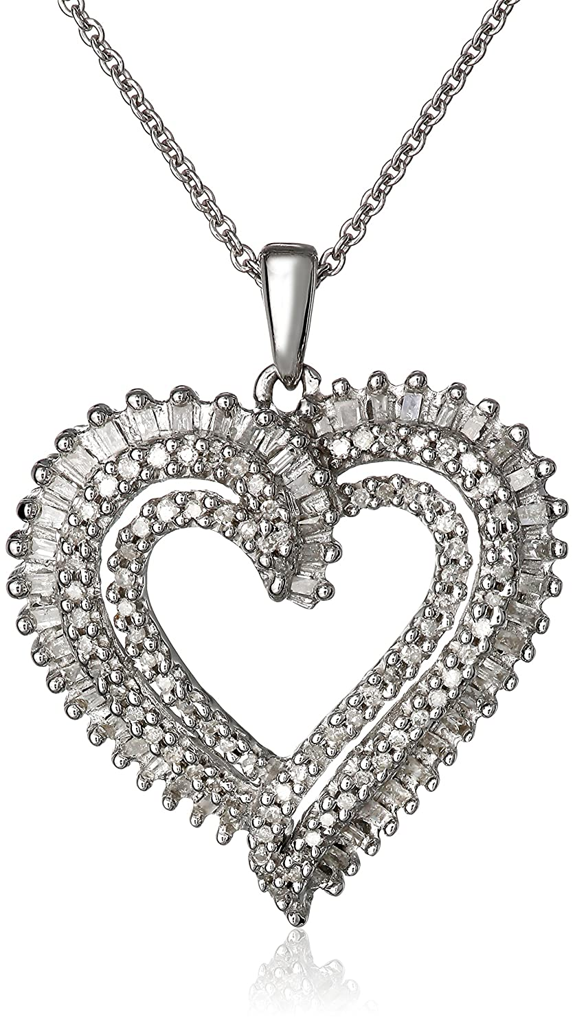 Amazon sterling silver diamond double heart pendant necklace amazon sterling silver diamond double heart pendant necklace 12 cttw 18 jewelry mozeypictures Choice Image
