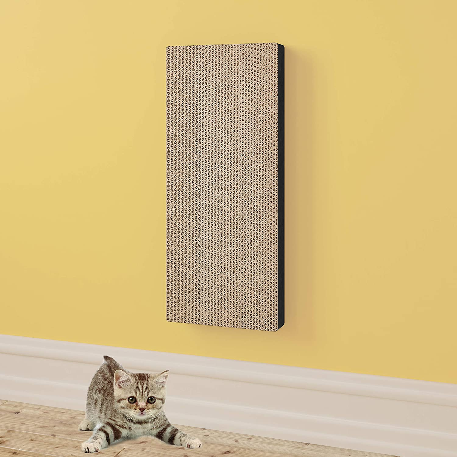 Way Basics Eco-friendly Wall Mount Scratch Pad Cat Scratcher (Uniquely Crafted from Sustainable Non Toxic zBoard Paperboard), Espresso