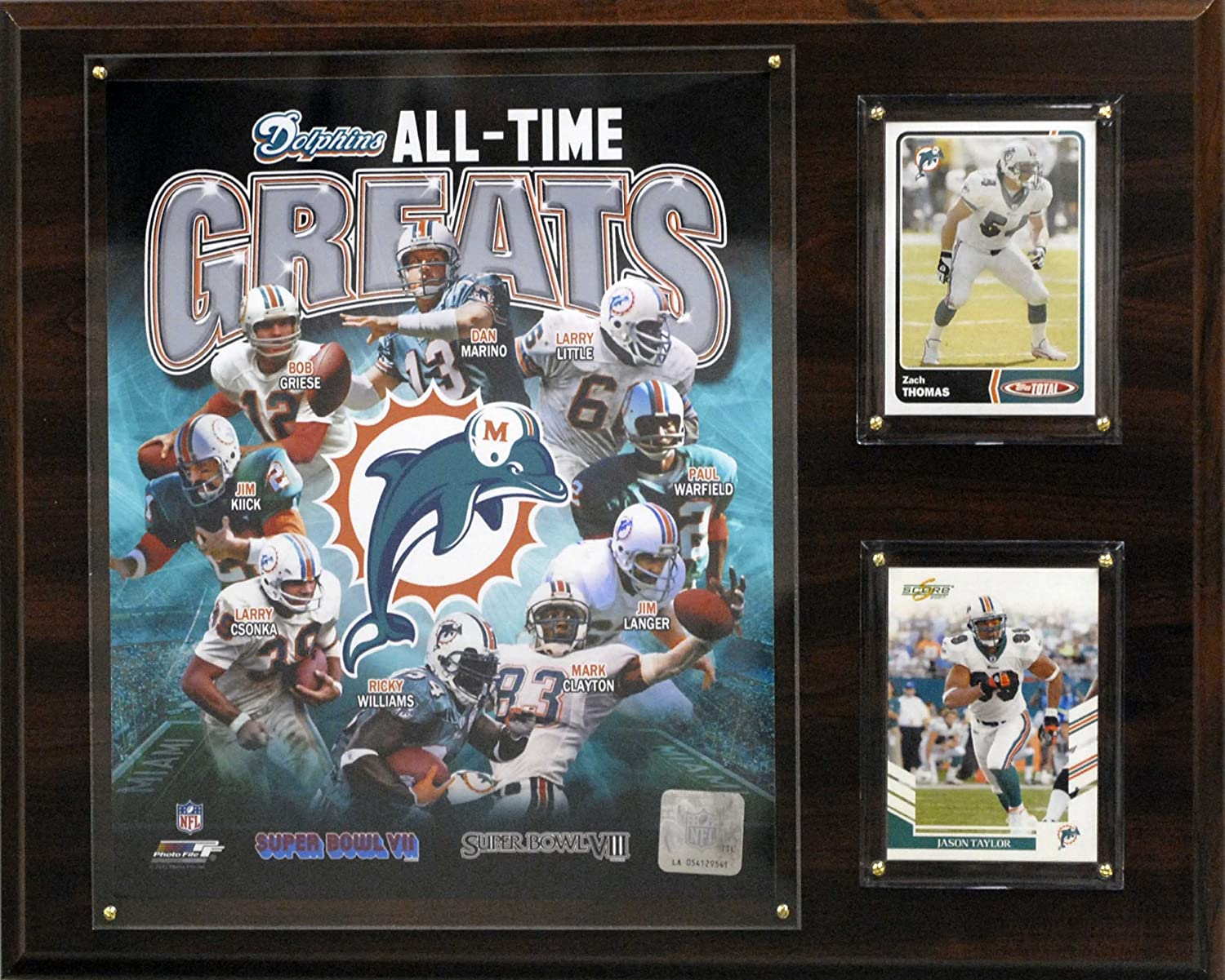 NFL Miami Dolphins All-Time Greats Plaque
