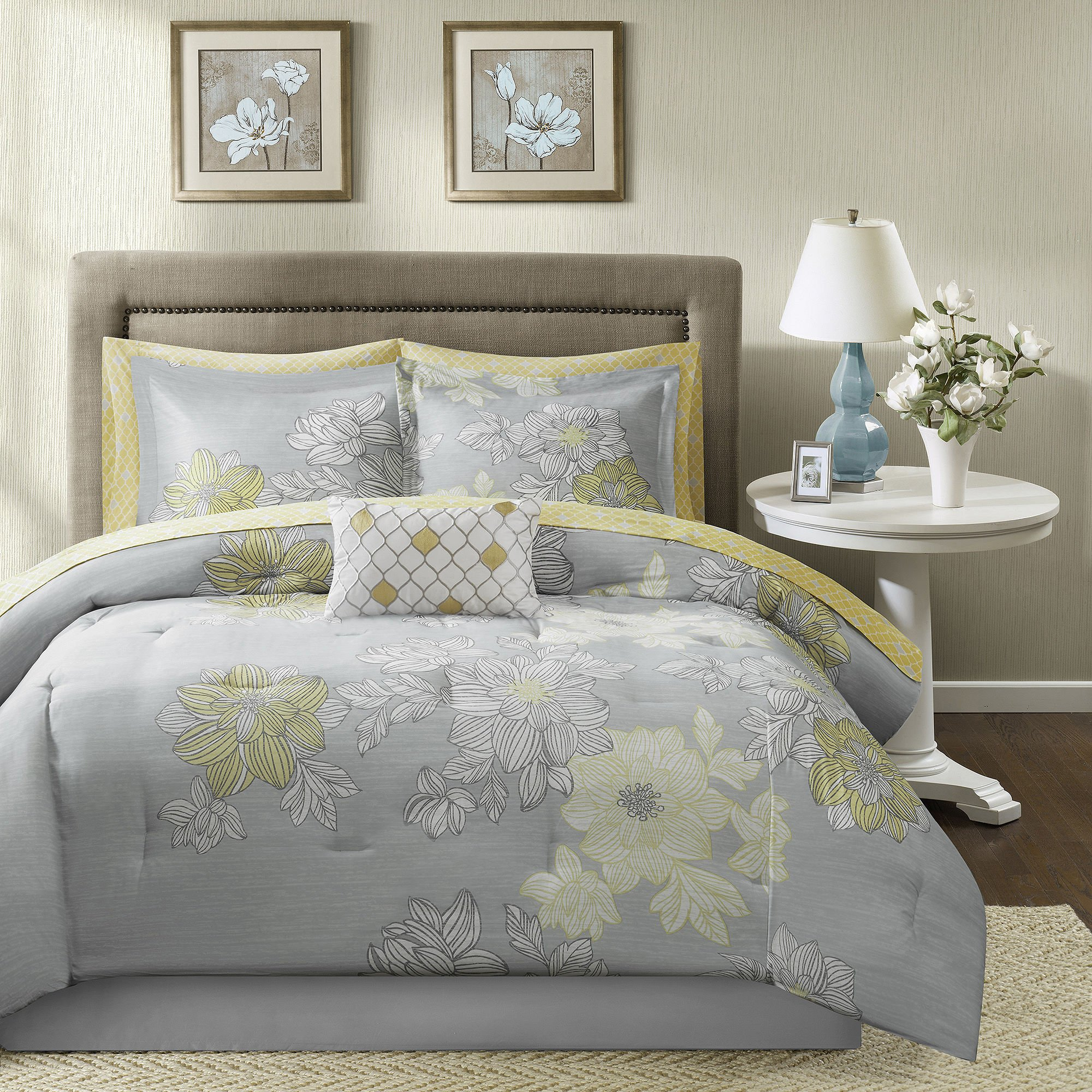 Madison Park Essentials Avalon Twin Size Bed Comforter Set Bed in A Bag - Grey, Yellow, Floral – 7 Pieces Bedding Sets – Ultra Soft Microfiber Bedroom Comforters
