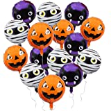 Halloween Foil Balloons, Pumpkin, Mummy, Bat (13 x 8 Inches, 15 Pack)