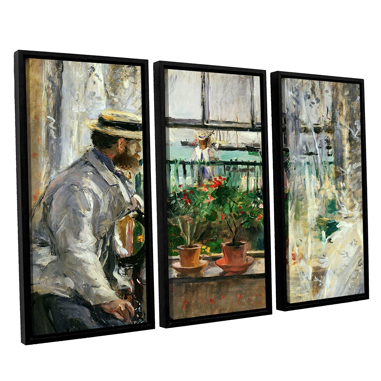 36 x 54 ArtWall 3 Piece Berthe Morisots Eugene Manet on The Isle of Wight Floater Framed Canvas Set