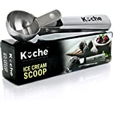 KUCHE Easy Trigger Stainless Steel Ice Cream Scoop, Cookie Dough and Water Melon Scoop