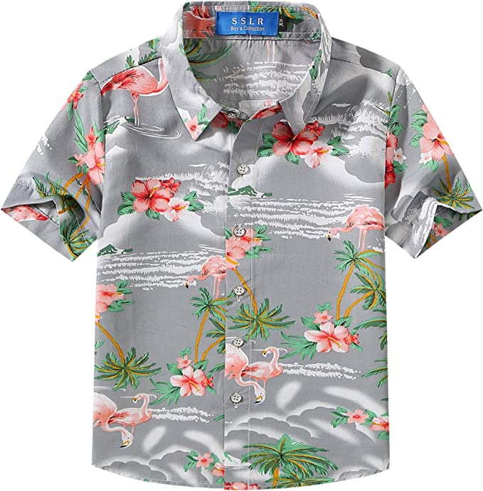 SSLR Big Girls Flamingos Casual Button Down Short Sleeve Hawaiian Shirt