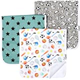 "Baby Burp Cloth Large 21''x10'' Size Premium Absorbent Triple Layer 3 Pack Gift Set ""Varsity"" by Copper Pearl"