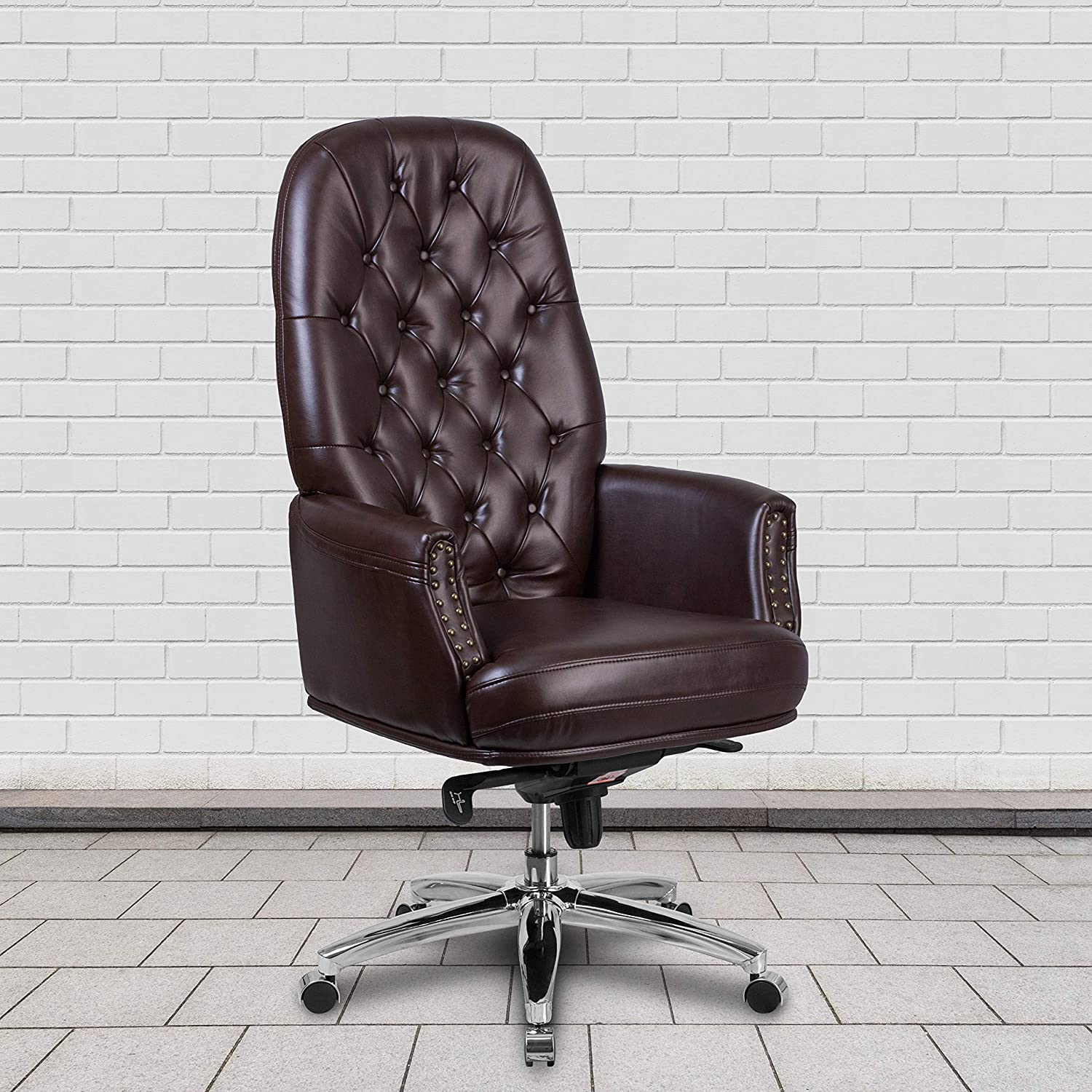 Flash Furniture High Back Traditional Tufted Brown LeatherSoft  Multifunction Executive Swivel Ergonomic Office Chair with Arms