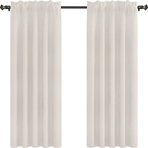 Urbanest Pair of 2 Drapery Curtain Panels, Unlined, 100 Linen, 7 Colors, 3 Sizes Natural, 96