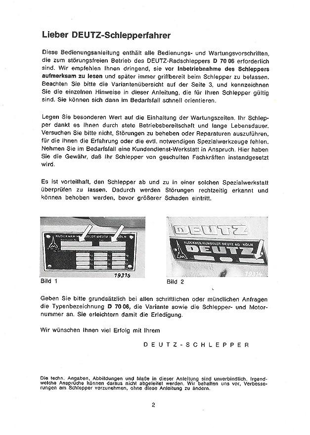 Bedienungsanleitung Deutz Schlepper Traktor D7006