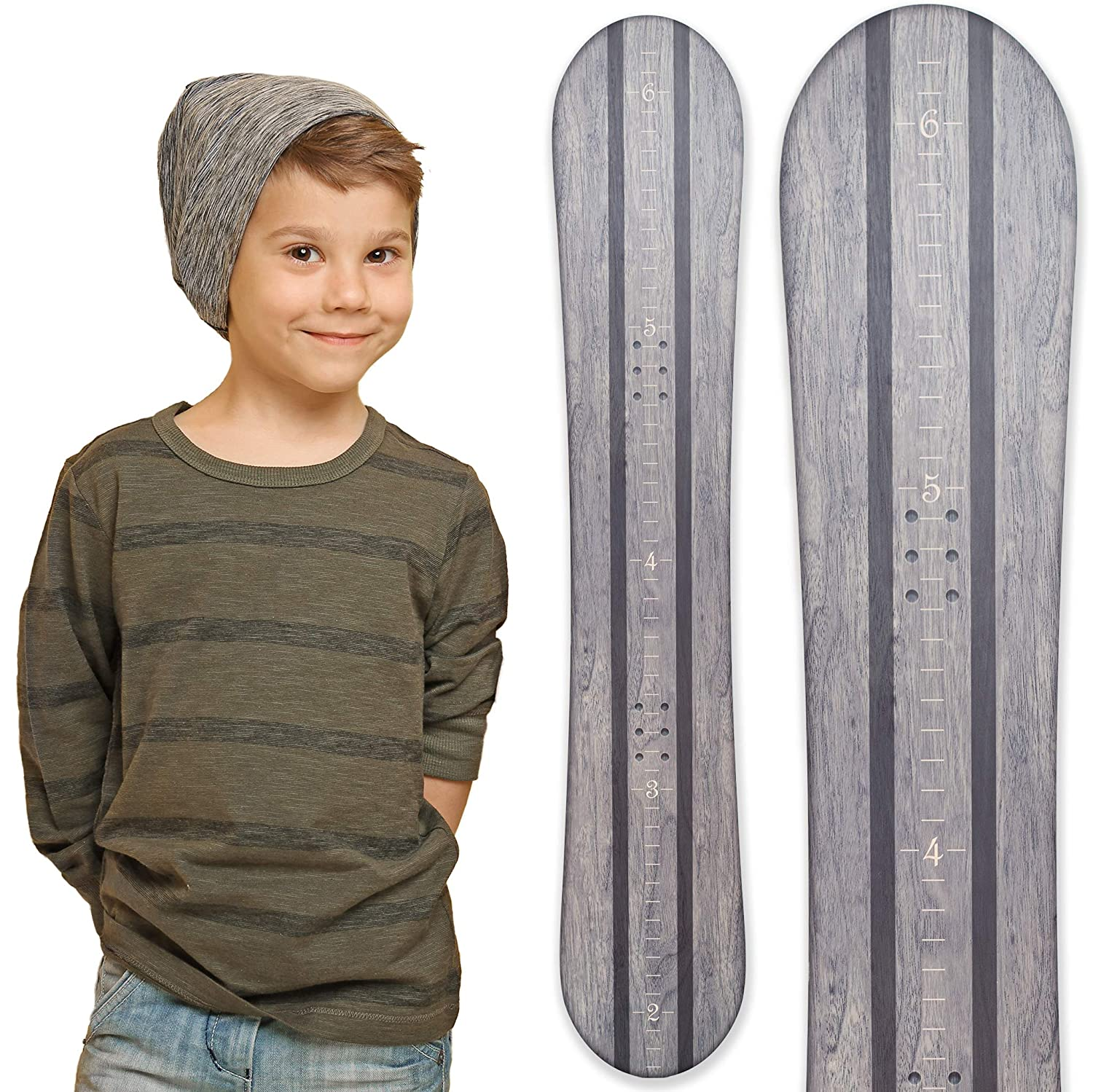 Growth Chart Art | Wooden Snowboard Height Chart for Kids, Boys, Girls for Measuring Height of Kids, Nursery Wall Decor | Baby Snowboard | Gray SNOWGRAY