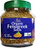 Organic Fenugreek Whole Methi Seeds 1 Lb - Gluten Free & Non GMO - For Cooking, Sprouting, & Beauty Care By Jiva Organics