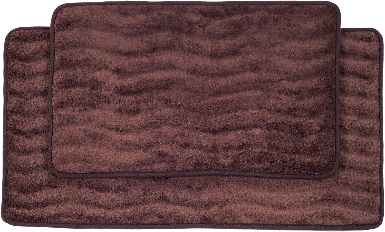 Lavish Home 2-Piece Memory Foam Bath Mat Set, Chocolate