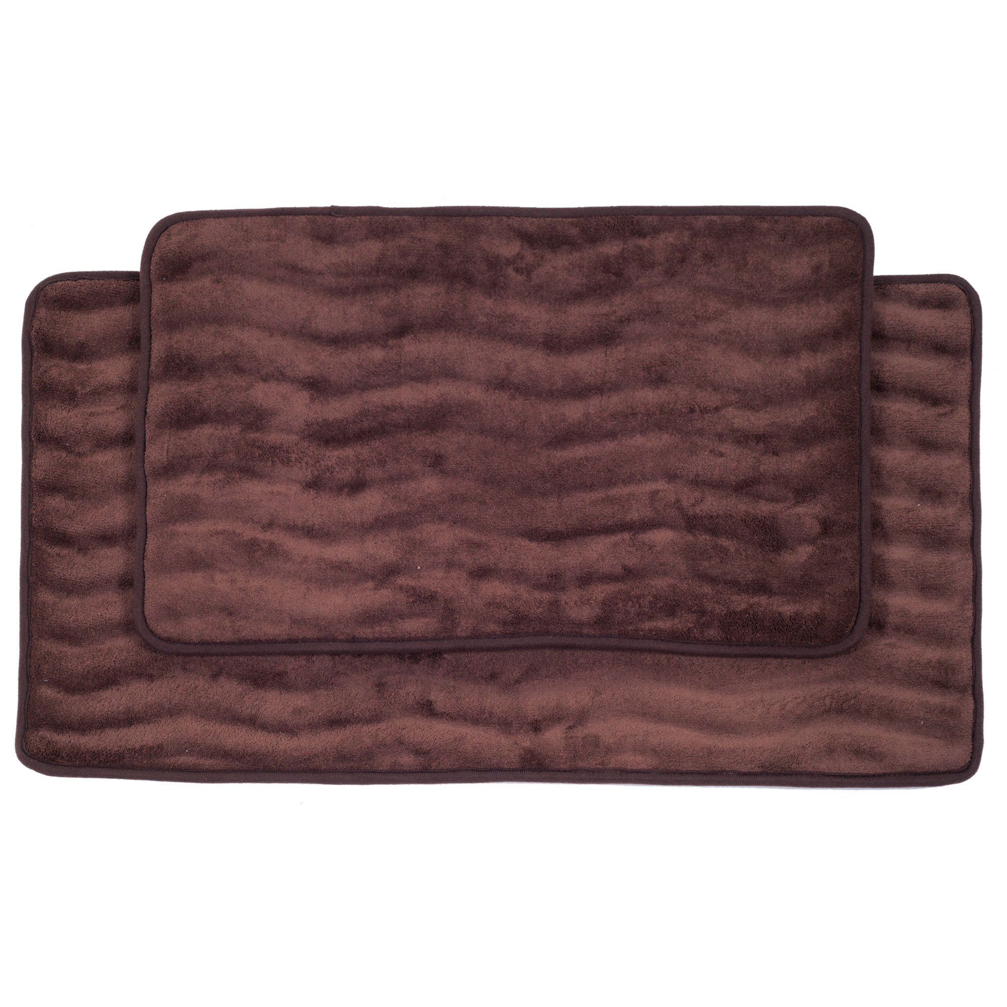 Lavish Home 2-Piece Memory Foam Bath Mat Set, Chocolate