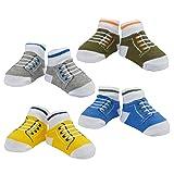Little Me Baby Boy Booties Sneakers, 4 Pack, Multi, 0-12 Months