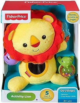 Fisher-Price León de actividades, juguete de peluche para bebé +3 meses (Mattel CGN89): Amazon.es: Juguetes y juegos