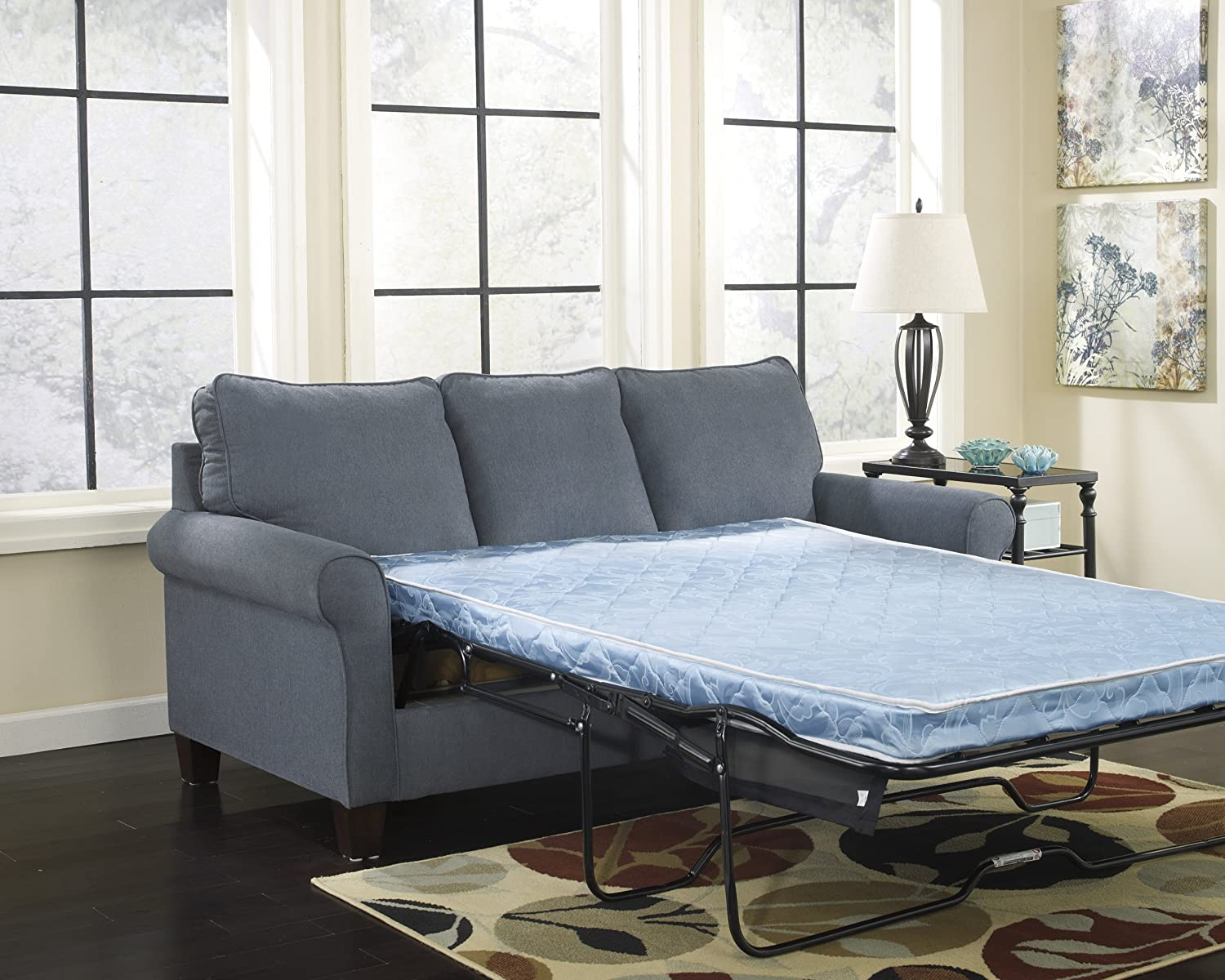 Amazon.com: Zeth Denim Tone Fabric Upholstery Contemporary Design Full Size Sofa  Sleeper: Kitchen U0026 Dining