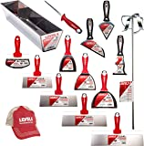 Pro Grade Stainless Steel Drywall Knife Set | Taping Finishing Tool Blades, Knives, Pan, Mixer, Saw | Sheetrock Gyprock Plasterboard | Level 5 Tools