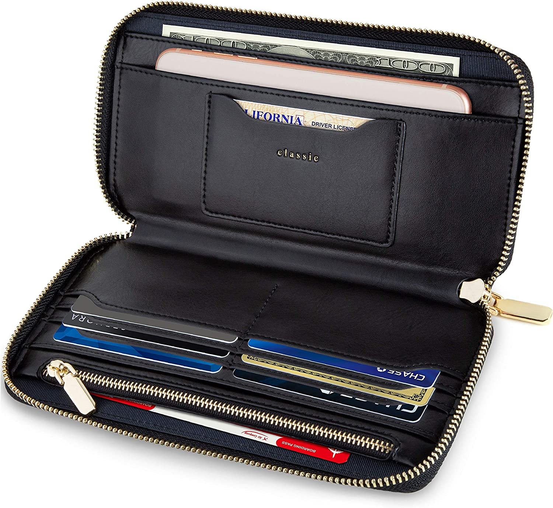 SERMAN BRANDS Women's Classic Clutch Wallets for Women RFID Blocking. Purse Card Wallet w. Phone Holder