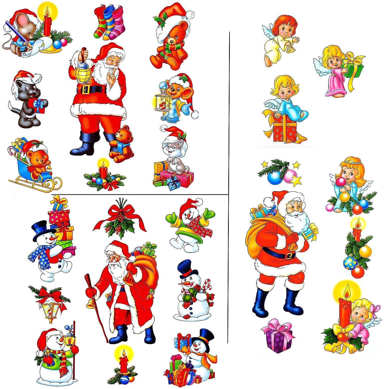 alles-meine.de GmbH 9 TLG. Set _ Fensterbilder - Winter & Weihnachtsmotive - incl. Name - statisch haftend - selbstklebend + wiederverwendbar / Weihnachten - Sticker Fenster..
