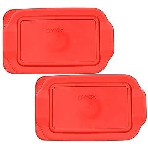 "Pyrex 2 Quart 7"" x 11"" Red Rectangular Plastic Lid 232-PC for Glass Baking Dish (2pks)"