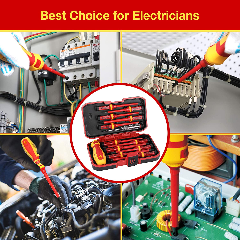 HURRICANE 1000V Insulated Electrician Screwdriver Set CR-V 13 Piece Magnetic Phillips Slotted Pozidriv Torx