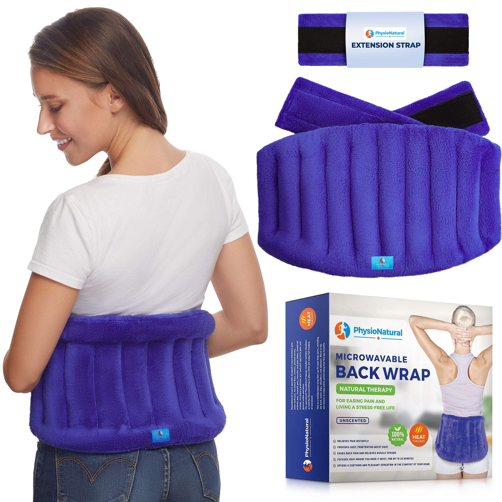 Microwavable Extra Large Heating Wrap for Lower Back Pain - Moist Heat Therapy Pad for Instant Relief in Case of Aches, Muscle Spasms, Pinched Nerves, Slipped Discs, Fibromyalgia, and Surgery Recovery by PhysioNatural