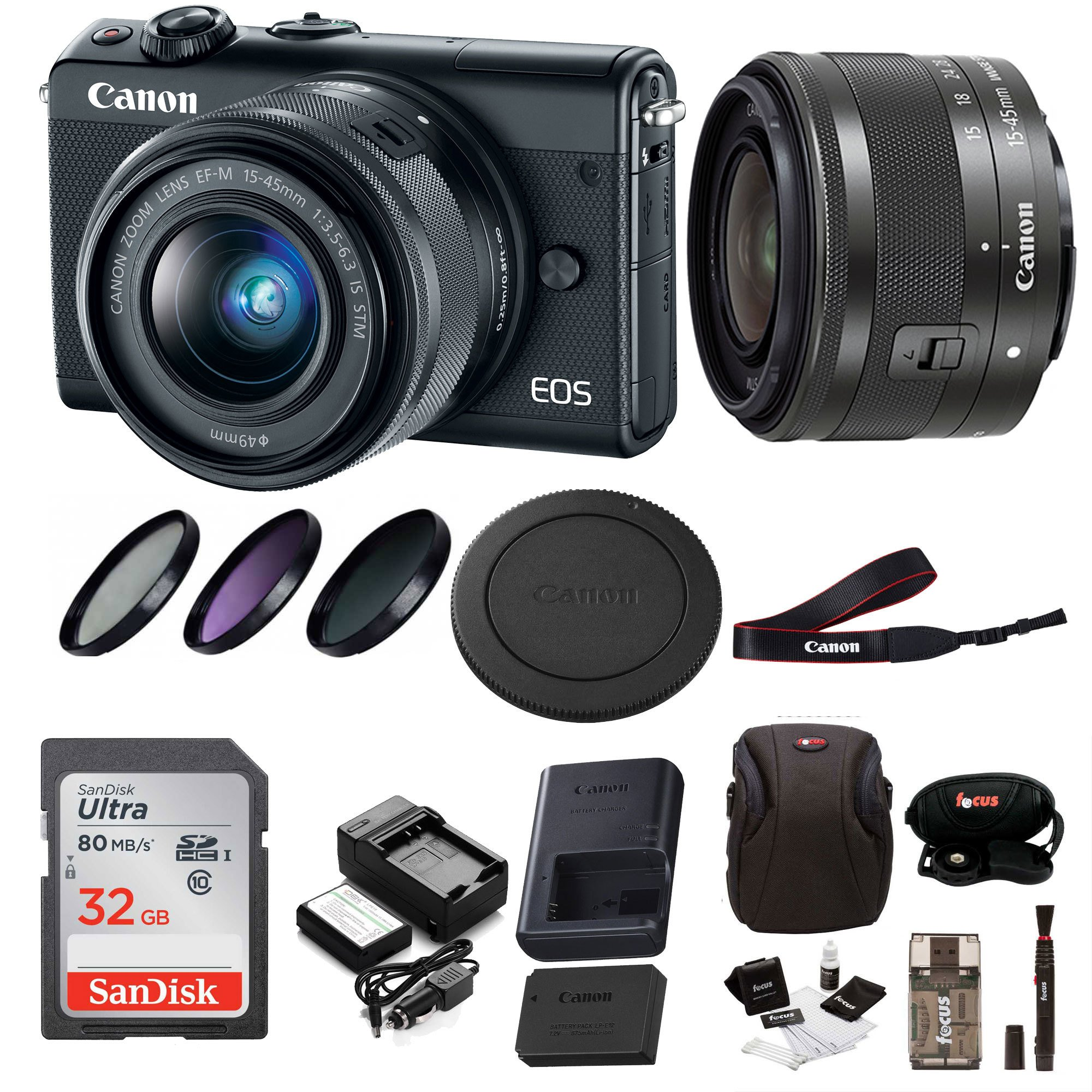 Canon EOS M100 Mirrorless Digital Camera EF-M 15-45mm lens (Black) + 32GB Memory Card + Filter Kit + Bundle by Focus Camera
