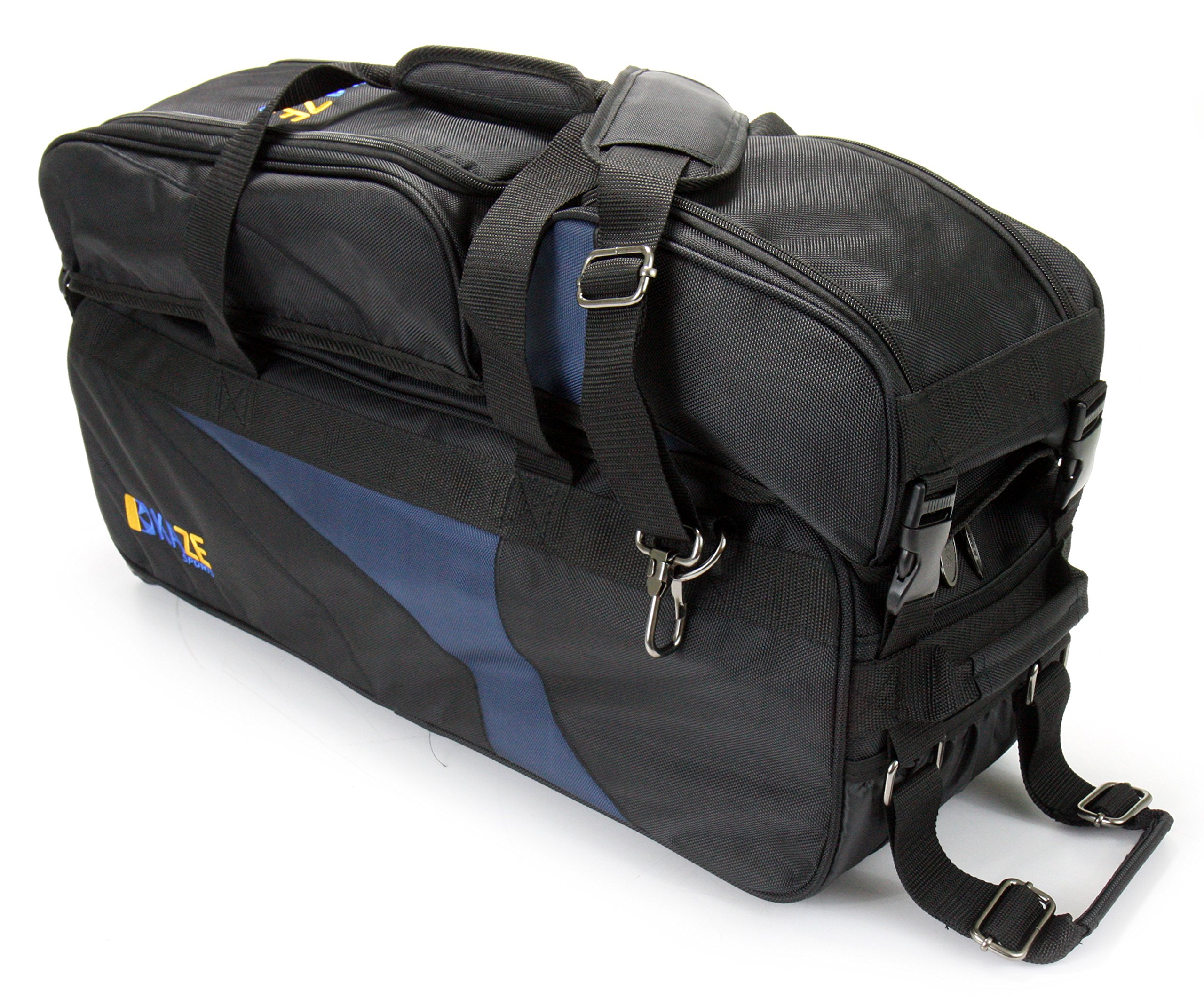 KAZE SPORTS 3 Ball Deluxe Bowling Tournament Roller Tote with Detachable Shoe & Accessory Bag, Black