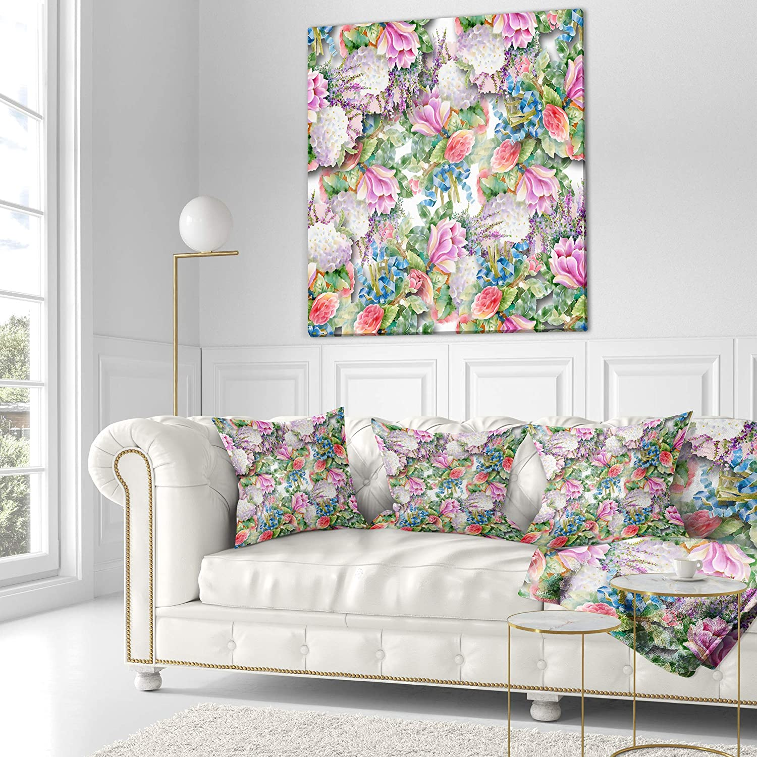 Designart CU13094-26-26 Pink Flower Pattern on White Floral Cushion Cover for Living Room Insert Printed On Both Side x 26 in in Sofa Throw Pillow 26 in