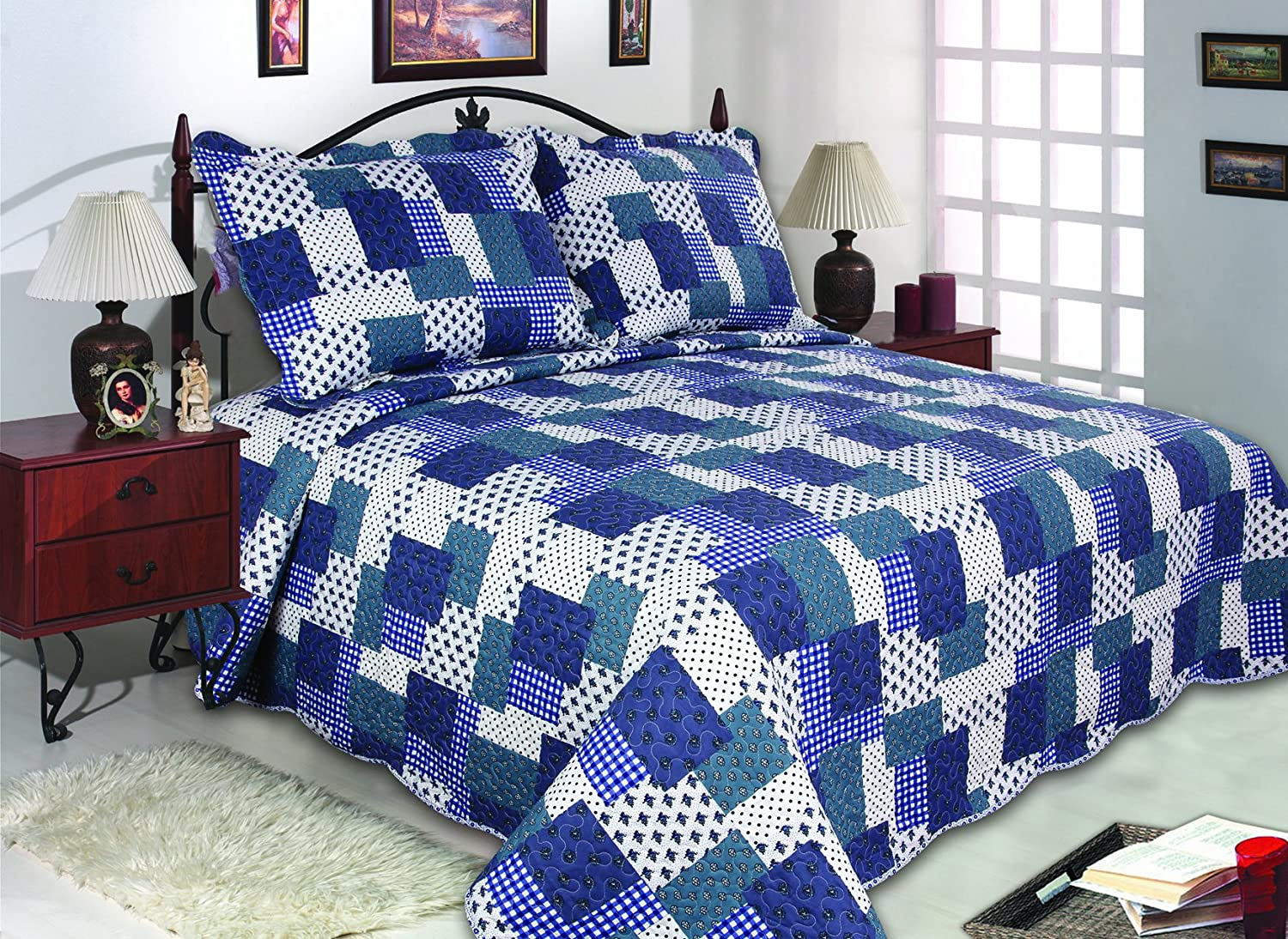 2-Piece Reversible Bedspread, Coverlet, Quilt Set