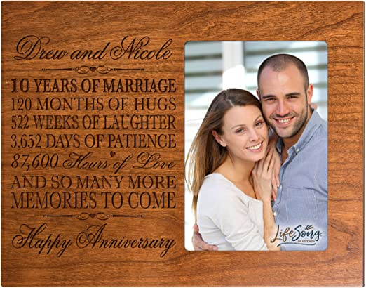 10th Wedding Anniversary Picture Frame New Wood 4x6 Photo Personalized